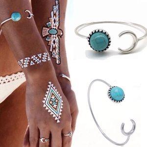 Jewelry - Boho crescent moon & turquoise bracelet
